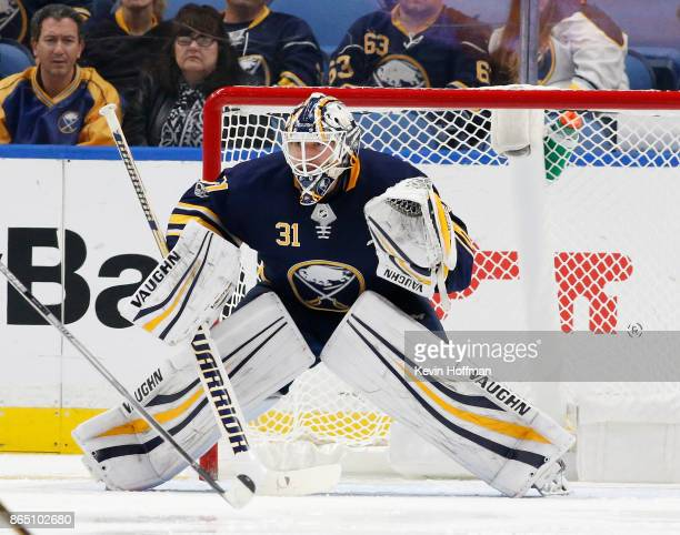 Chad Johnson of the Buffalo Sabres during the game against the Vancouver Canucks at the KeyBank Center on October 20 2017 in Buffalo New York