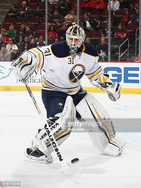 Chad Johnson of the Buffalo Sabres plays the puck during the game against the New Jersey Devils at the Prudential Center on April 5 2016