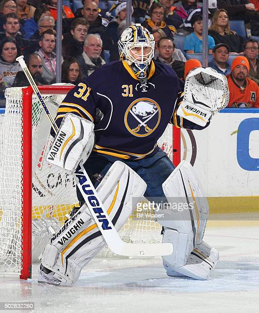 Chad Johnson of the Buffalo Sabres tends goal against the Anaheim Ducks during an NHL game on December 17 2015 at the First Niagara Center in Buffalo...