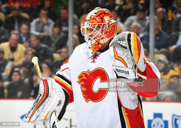 Chad Johnson of the Calgary Flames defends the net against the Pittsburgh Penguins at PPG Paints Arena on February 7 2017 in Pittsburgh Pennsylvania