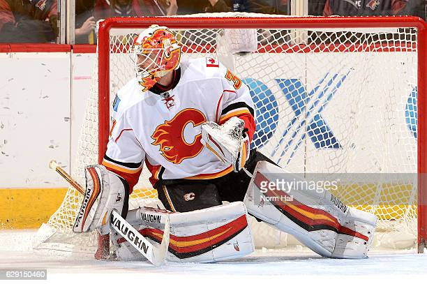 Chad Johnson of the Calgary Flames gets ready to make a save against the Arizona Coyotes at Gila River Arena on December 8 2016 in Glendale Arizona