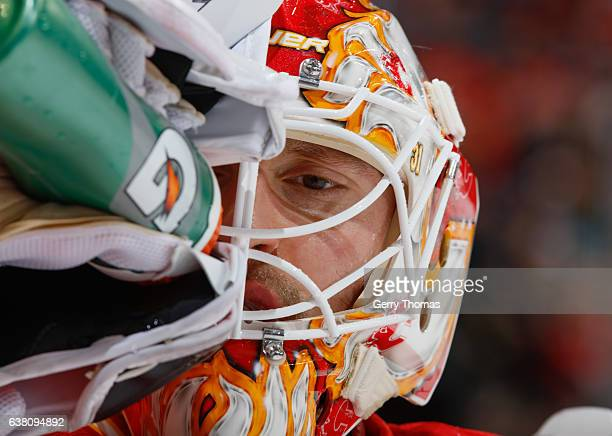 Chad Johnson of the Calgary Flames grabs a drink against the Vancouver Canucks at Scotiabank Saddledome on January 7 2017 in Calgary Alberta Canada