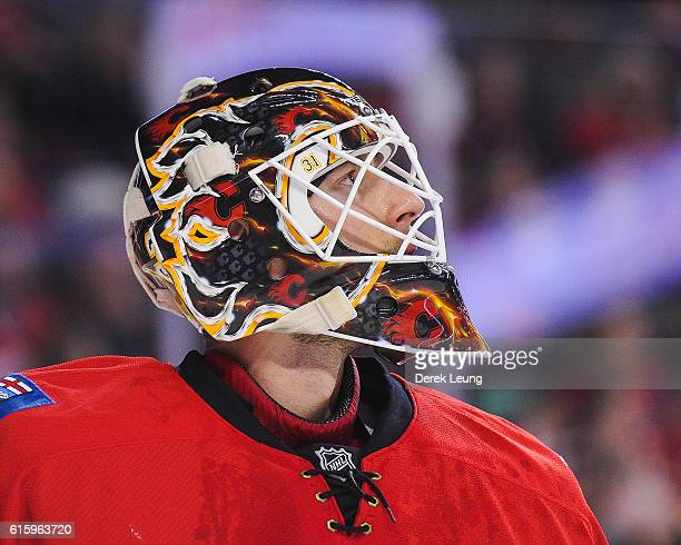 Chad Johnson of the Calgary Flames in action against the Buffalo Sabres during an NHL game at Scotiabank Saddledome on October 18 2016 in Calgary...