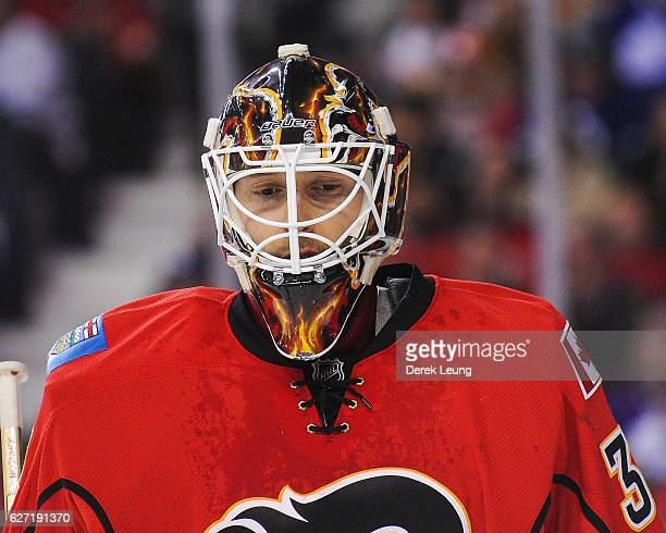 Chad Johnson of the Calgary Flames in action against the Toronto Maple Leafs during an NHL game at Scotiabank Saddledome on November 30 2016 in...