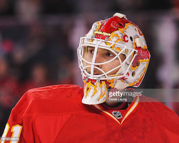 Chad Johnson of the Calgary Flames in action against the Winnipeg Jets during an NHL game at Scotiabank Saddledome on December 10 2016 in Calgary...