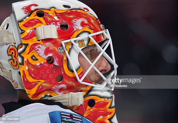 Chad Johnson of the Calgary Flames looks on against the Philadelphia Flyers on November 27 2016 at the Wells Fargo Center in Philadelphia Pennsylvania