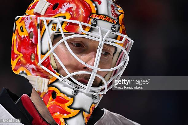 Chad Johnson of the Calgary Flames looks on during the NHL game against the Montreal Canadiens at the Bell Centre on January 24 2017 in Montreal...