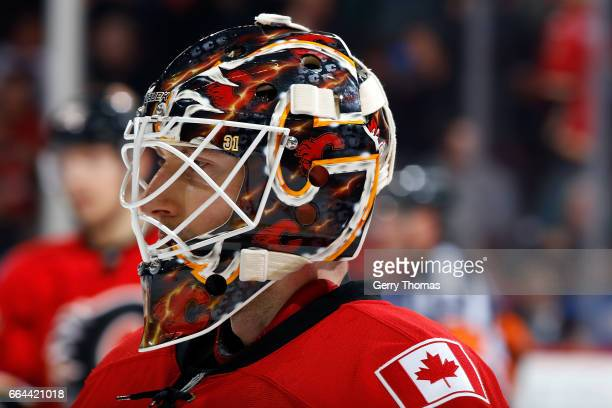 Chad Johnson of the Calgary Flames plays against the Arizona Coyotes during an NHL game on February 13 2017 at the Scotiabank Saddledome in Calgary...