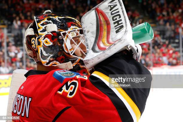 Chad Johnson of the Calgary Flames skates against the Arizona Coyotes during an NHL game on November 16 2016 at the Scotiabank Saddledome in Calgary...