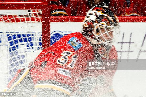 Chad Johnson of the Calgary Flames skates against the Nashville Predators during an NHL game on January 19 2017 at the Scotiabank Saddledome in...