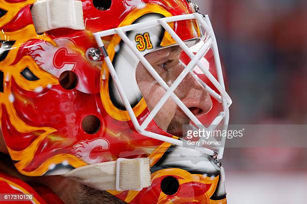 Chad Johnson of the Calgary Flames skates against the St Louis Blues during an NHL game on October 22 2016 at the Scotiabank Saddledome in Calgary...