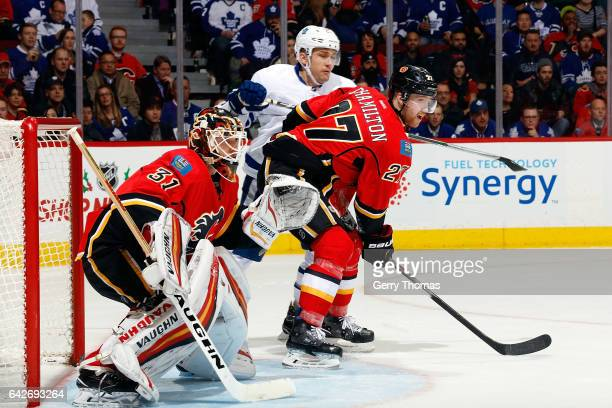 Chad Johnson of the Calgary Flames skates against the Toronto Maple Leafs during an NHL game on November 30 2016 at the Scotiabank Saddledome in...