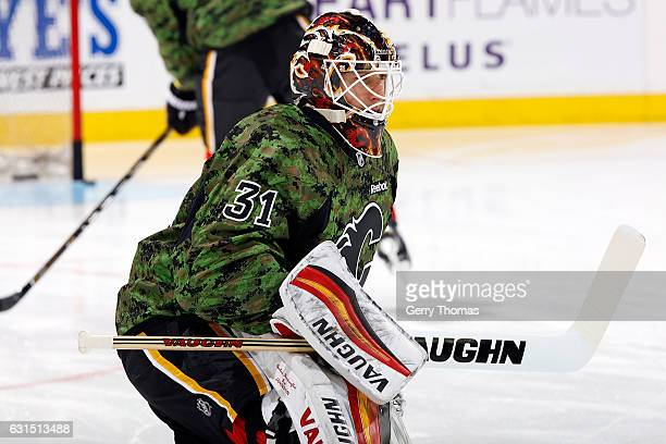 Chad Johnson of the Calgary Flames skates in the warmup before an NHL game against the San Jose Sharks on January 11 2017 at the Scotiabank...