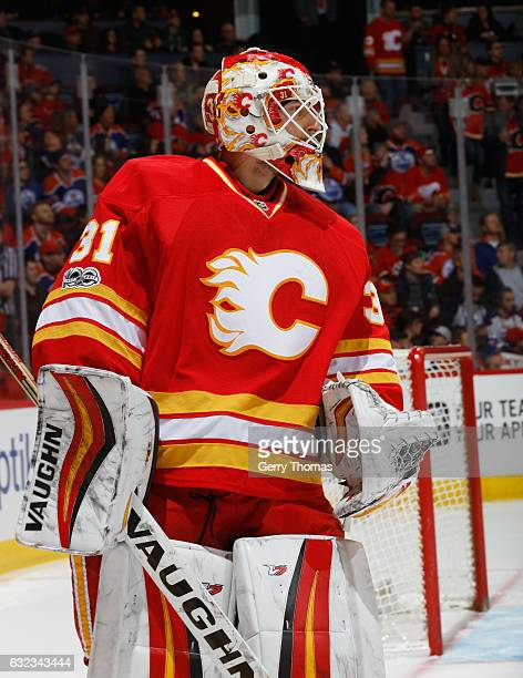 Chad Johnson of the Calgary Flames stays focused in net against the Edmonton Oilers at Scotiabank Saddledome on January 21 2017 in Calgary Alberta...