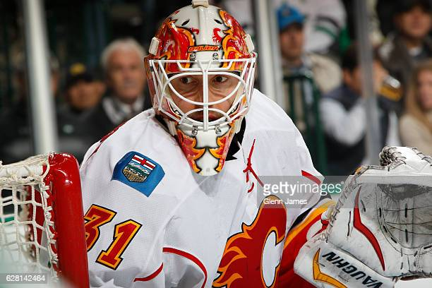 Chad Johnson of the Calgary Flames tends goal against the Dallas Stars at the American Airlines Center on December 6 2016 in Dallas Texas