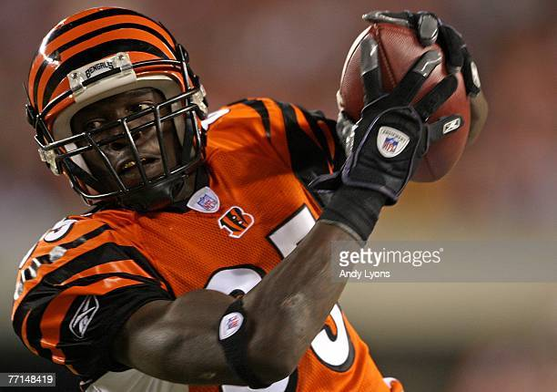Chad Johnson of the Cincinnati Bengals catches a pass during the NFL game against the New England Patriots on October 1 2007 at Paul Brown Stadium in...