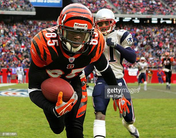 Chad Johnson of the Cincinnati Bengals catches the ball in front of Randall Gay of the New England Patriots for a touchdown at Gillette Stadium on...