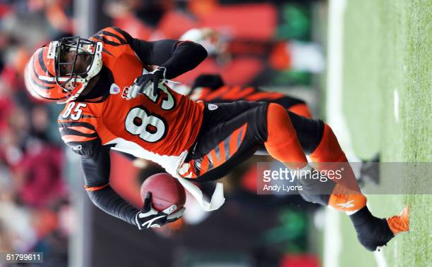 Chad Johnson of the Cincinnati Bengals runs against the Cleveland Browns on November 28 2004 at Paul Brown Stadium in Cincinnati Ohio The Bengals...