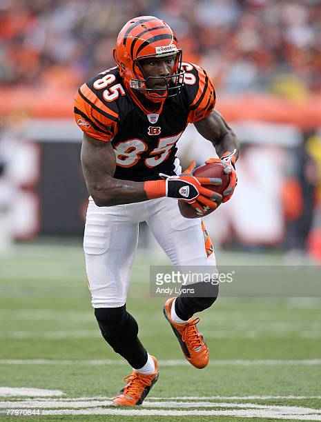 Chad Johnson of the Cincinnati Bengals runs with the ball during the NFL game against the Arizona Cardinals at Paul Brown Stadium November 18 2007 in...