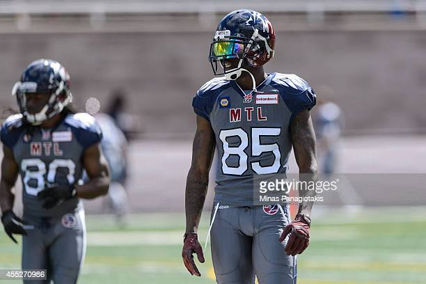Chad Johnson of the Montreal Alouettes walks on the field during the CFL game against the Hamilton TigerCats at Percival Molson Stadium on September...
