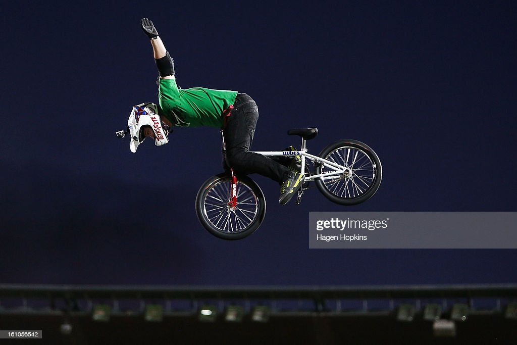 Chad Kagy performs a BMX trick during Nitro Circus Live at Westpac Stadium on February 9, 2013 in Wellington, New Zealand.