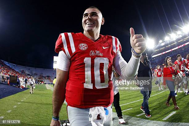 Chad Kelly of the Mississippi Rebels celebrates after a game against the Memphis Tigers at VaughtHemingway Stadium on October 1 2016 in Oxford...