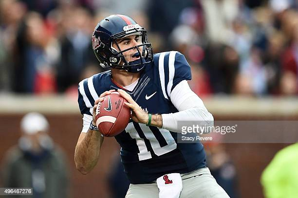 Chad Kelly of the Mississippi Rebels drops back to pass during a game against the Arkansas Razorbacks at VaughtHemingway Stadium on November 7 2015...