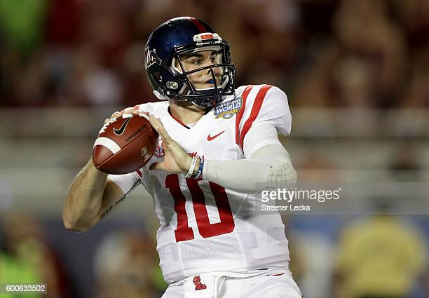 Chad Kelly of the Mississippi Rebels during the Camping World Kickoff at Camping World Stadium on September 5 2016 in Orlando Florida