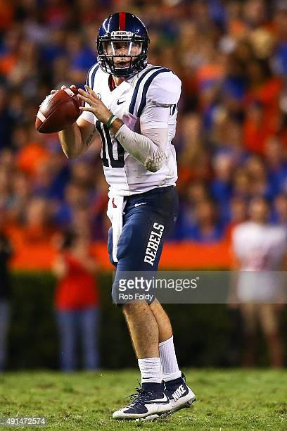 Chad Kelly of the Mississippi Rebels in action during the game against the Mississippi Rebels on October 3 2015 in Gainesville Florida