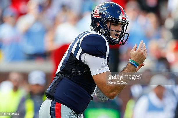Chad Kelly of the Mississippi Rebels looks on against the Alabama Crimson Tide at VaughtHemingway Stadium on September 17 2016 in Oxford Mississippi