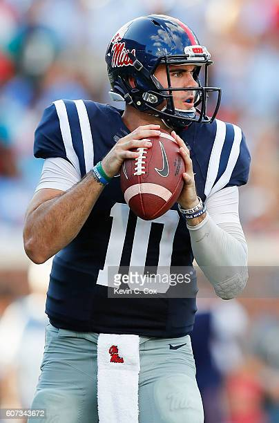 Chad Kelly of the Mississippi Rebels looks to pass against the Alabama Crimson Tide at VaughtHemingway Stadium on September 17 2016 in Oxford...