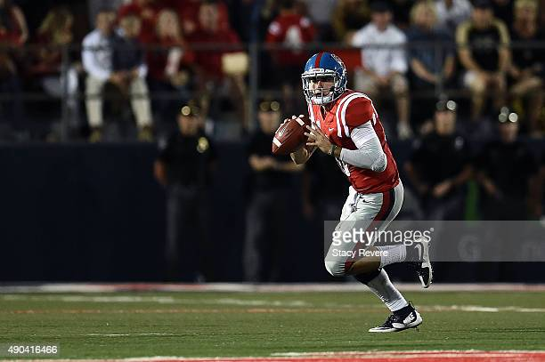 Chad Kelly of the Mississippi Rebels looks to pass during a game against the Vanderbilt Commodores at VaughtHemingway Stadium on September 26 2015 in...