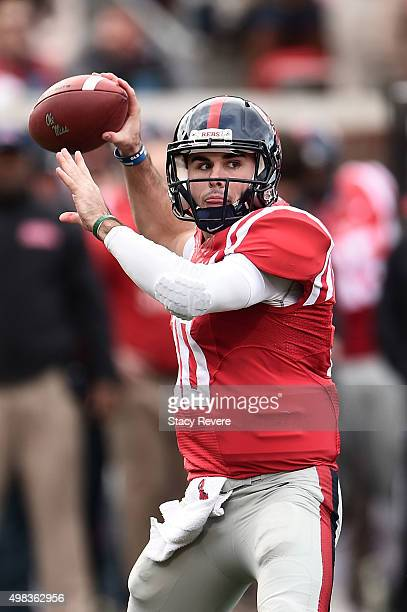 Chad Kelly of the Mississippi Rebels looks to pass during a game against the LSU Tigers at VaughtHemingway Stadium on November 21 2015 in Oxford...