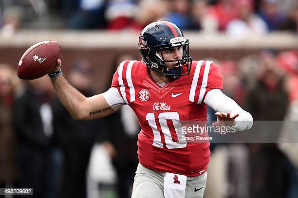 Chad Kelly of the Mississippi Rebels looks to pass during the first quarter of a game against the LSU Tigers at VaughtHemingway Stadium on November...