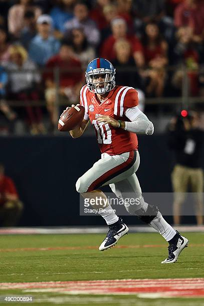 Chad Kelly of the Mississippi Rebels looks to pass during the third quarter of a game against the Vanderbilt Commodores at VaughtHemingway Stadium on...
