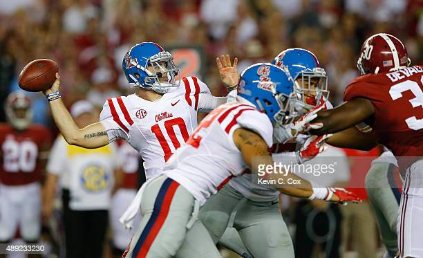 Chad Kelly of the Mississippi Rebels passes against the Alabama Crimson Tide at BryantDenny Stadium on September 19 2015 in Tuscaloosa Alabama