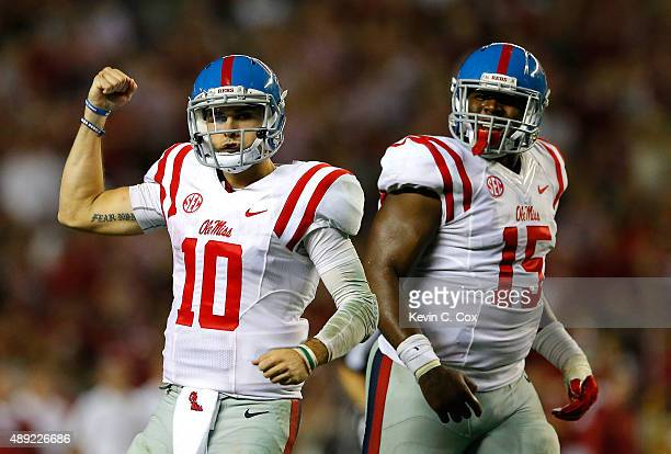 Chad Kelly of the Mississippi Rebels reacts after passing for a touchdown against the Alabama Crimson Tide at BryantDenny Stadium on September 19...