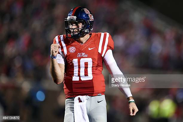 Chad Kelly of the Mississippi Rebels reacts to a touchdown during the first quarter of a game against the Texas AM Aggies at VaughtHemingway Stadium...