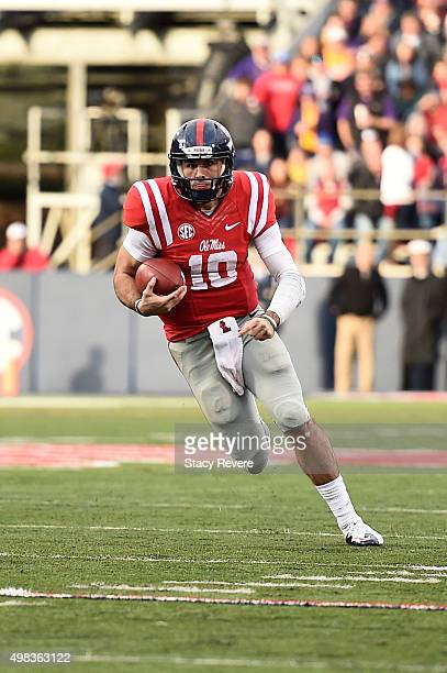 Chad Kelly of the Mississippi Rebels runs for yards during a game against the LSU Tigers at VaughtHemingway Stadium on November 21 2015 in Oxford...