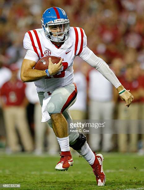 Chad Kelly of the Mississippi Rebels rushes against the Alabama Crimson Tide at BryantDenny Stadium on September 19 2015 in Tuscaloosa Alabama