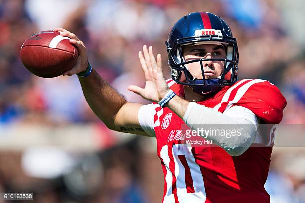 Chad Kelly of the Mississippi Rebels throws a pass during a game against the Georgia Bulldogs at VaughtHemingway Stadium on September 24 2016 in...