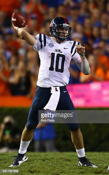 Chad Kelly of the Mississippi Rebels throws during the first half of the game against the Florida Gators on October 3 2015 in Gainesville Florida