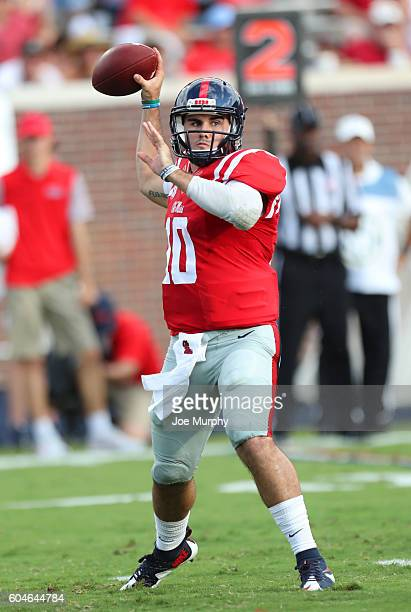 Chad Kelly of the Mississippi Rebels throws the ball against the Wofford Terriers on September 10 2016 at VaughtHemingway Stadium in Oxford...
