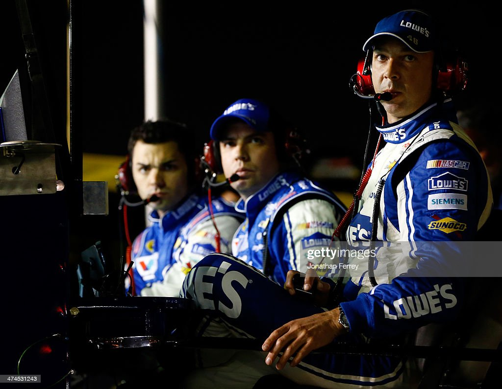 Chad Knaus, crew chief for Jimmie Johnson, driver of the #48 Lowe's Chevrolet, looks on during the NASCAR Sprint Cup Series Daytona 500 at Daytona International Speedway on February 23, 2014 in Daytona Beach, Florida.
