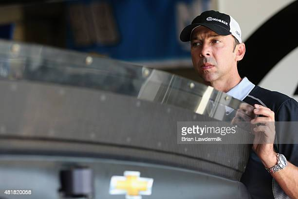 Chad Knaus crew chief of the Kobalt Tools Chevrolet inspects the rear spoiler during practice for the NASCAR Sprint Cup Series Crown Royal Presents...