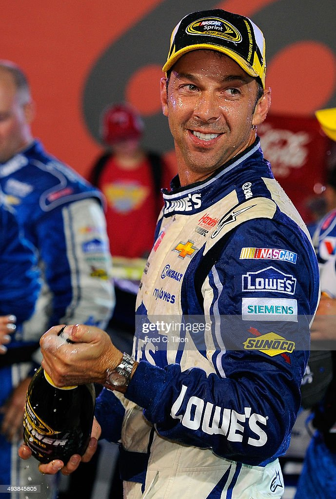 Chad Knaus, crew chief of the #48 Lowe's Patriotic Chevrolet of Jimmie Johnson, celebrates in Victory Lane after the NASCAR Sprint Cup Series Coca-Cola 600 at Charlotte Motor Speedway on May 25, 2014 in Charlotte, North Carolina.