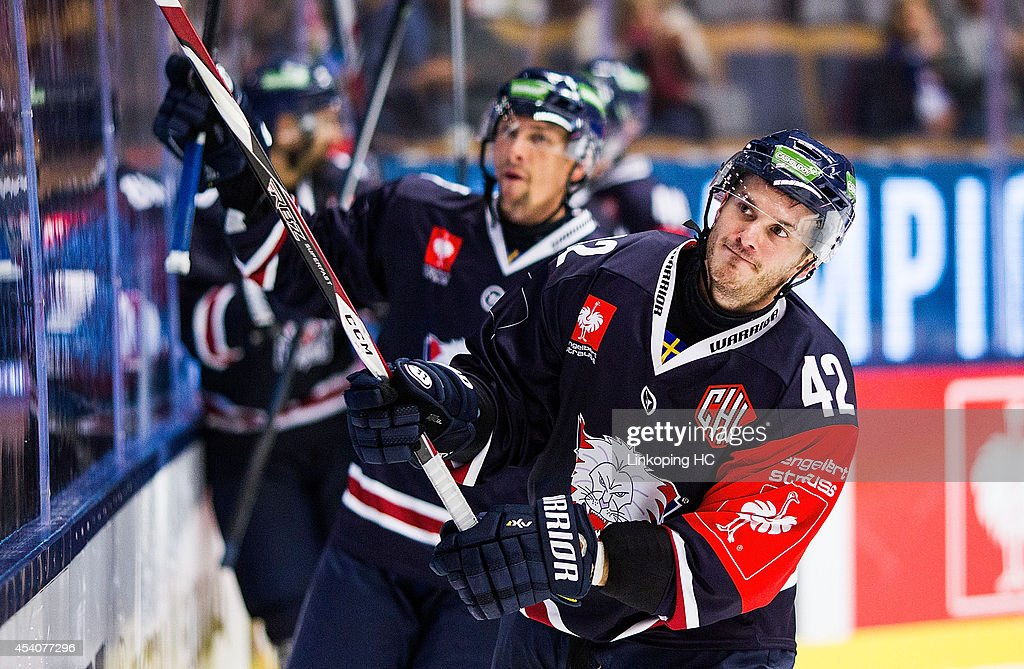 Chad Kolarik #42 and Magnus Johansson #7 thank the fans during the Champions Hockey League group stage game between Linkoping HC and HC Bolzano on August 24, 2014 in Linkoping, Sweden.