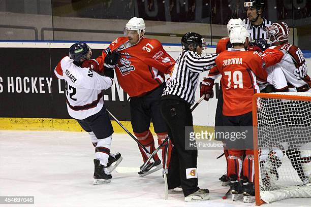 Chad Kolarik of Linkoping HC fights Petr Sykora of HC Pardubice during the Champions Hockey League group stage game between HC Pardubice and...