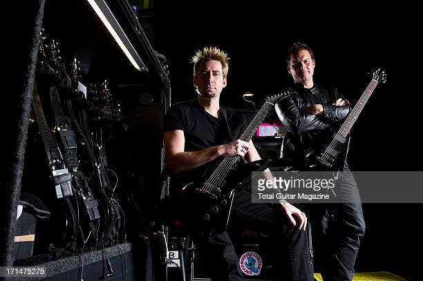 Chad Kroeger and Ryan Peak members of Canadian rock band Nickelback photographed during a portrait shoot for Total Guitar Magazine October 7 2012