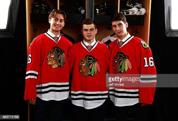 Chad Krys 45th overall Alexander Debrincat 39th overall Artur Kayumov 50th overall pose for a portrait after being selected by the Chicago Blackhawks...